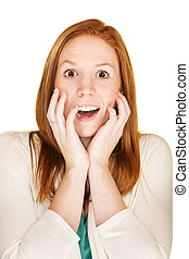 Startled Woman - Isolated startled female with hands near...