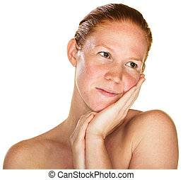 Daydreaming Woman with Bare Shoulders - Daydreaming woman...