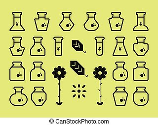 Flat Alchemy Icons - A set of flat geometric alchemy related...