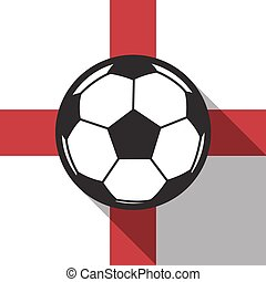 football icon with England flag background,long shadow vector