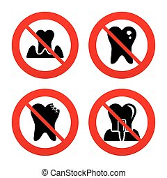 Dental care icons Caries tooth and implant - No, Ban or Stop...