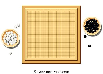 Go Game Blank Start Of Play Board - Go game with two wooden...