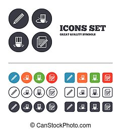 Pencil icon. Edit document file. Eraser sign. Correct...
