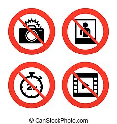 Photo camera icon Flash light and video frame - No, Ban or...