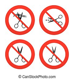 Scissors icons. Hairdresser or barbershop symbol - No, Ban...