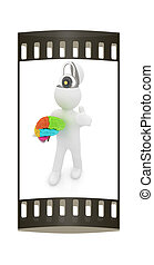 3d people - man with half head, brain and trumb up. The concept of protection with lock. The film strip