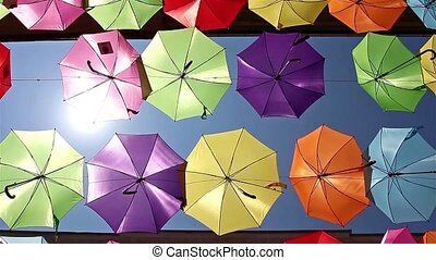 Decoration with hanging umbrellas - Colored umbrellas...