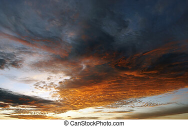 Colored Clouds At Sunset - Shot of the sky and clouds at...