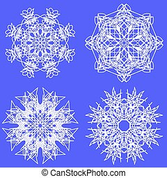 Snow Flakes - Abstract Geometric Snow Flakes Isolated on...