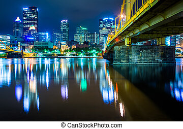 The Andy Warhol Bridge and skyline at night, in Pittsburgh,...