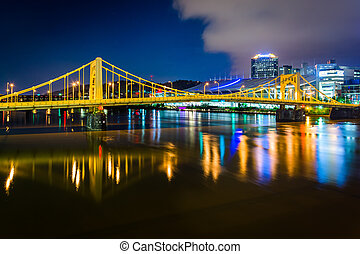 The Andy Warhol Bridge over the Allegheny River at night, in...