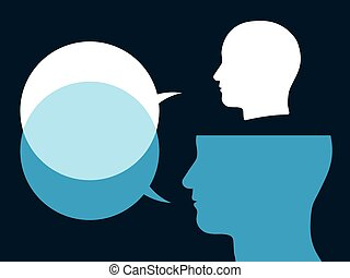 Heads with speech bubbles - Illustration of two silhouetted...