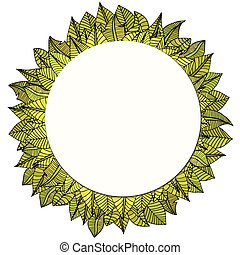 leaves frame - Beautiful round frame of cartoon leaves....