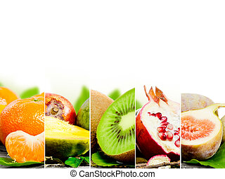 Fruit mix - Photo of abstract fruit mix with white space for...