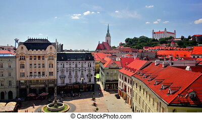 The top view on a central square Bratislava is the only...