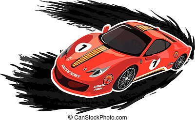 Racing car on a white background