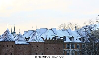 Ancient architecture of Warsaw in winter day, Poland