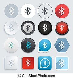 Vector modern bluetooth icons set on gray background 16...