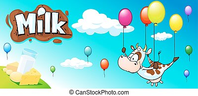 funny design with cow, colorful balloon and milk products -...