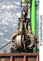 Scrap Metal - Scrap metal being dumped into a railcar