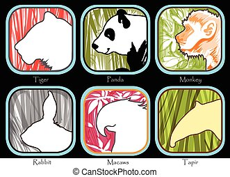 Tiger Monkey Panda Tapir Macaws Rabbit - Symbol Tiger Monkey...