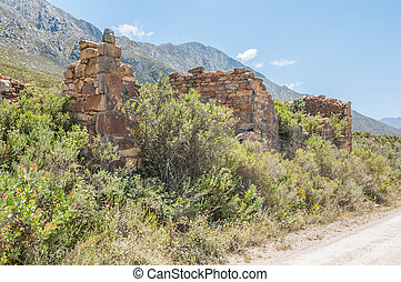 Ruins of old toll house on the Swartberg Pass - The ruins of...