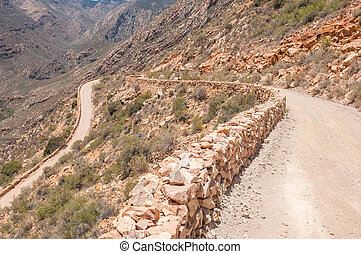 Hairpin bend in the historic Swartberg Pas - One of the...