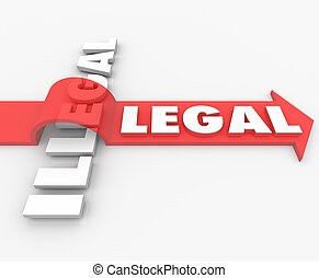 Legal Vs Illegal Law Red Arrow Over Word Guilty or Innocent...