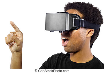 Virtual Reality Headset on White Background - Black male...