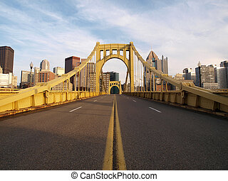 Empty Pittsburgh Bridge - Big empty bridge in downtown...