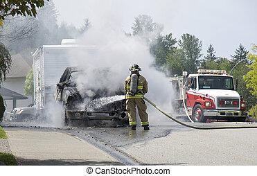 bombero, Extinguir, abrasador, vehículo