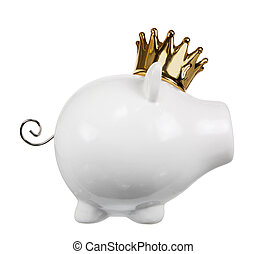 Piggy Bank with Crown on White Background