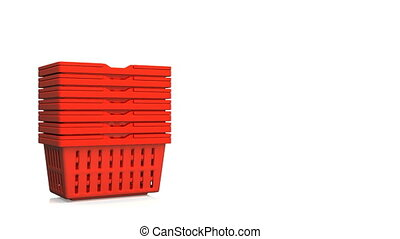 Red Shopping Baskets On White Text Space.