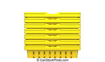 Closeup Of Yellow Shopping Baskets On White Background.