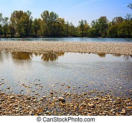 Ticino River - View of scenic Ticino river in Italy