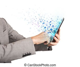 Surfing with tablet - Businessman surfing the internet with...