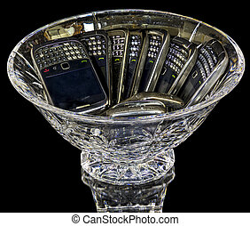 Crystal bowl with many phones - Bowl filled with cell phones...