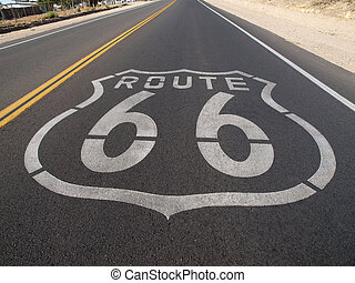 Route 66 Pavement Sign - Route 66 sign painted onto the road...