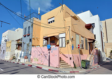 Tel Aviv - Israel - TEL AVIV - APR 13 2015:Old buildings in...