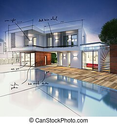 Project for a villa with notes drawn