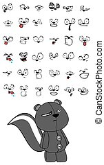 skunk plush cartoon expressions set in vector format very...