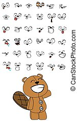 beaver plush cartoon expressions set in vector format very...