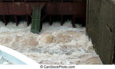 Gateway. Water gates opening. Moscow Canal
