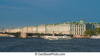 View Winter Palace in Saint Petersburg from Neva river....