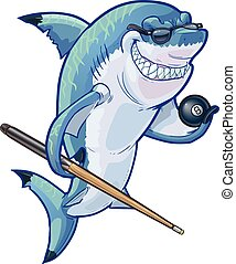 Cartoon Pool Shark with Cue and Ball - Vector cartoon clip...