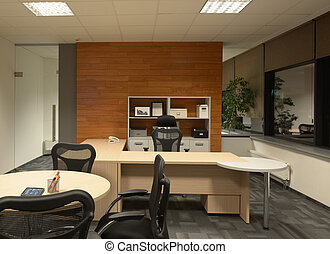 Contemporary Office - Interior of contemporary office with...