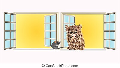 Neighbors, - composition of cat and mouse, who sit in the...