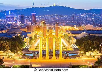 Plaza de Espana Barcelona - Plaza de Espana Dusk niew,...