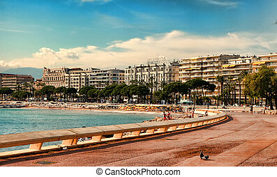 CANNES, FRANCE - JULY 5, 2014. The beach in Cannes. Cannes...