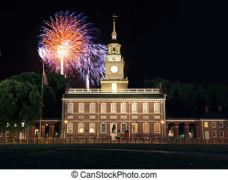 Independence Hall Fireworks - Fireworks at Independence Hall...